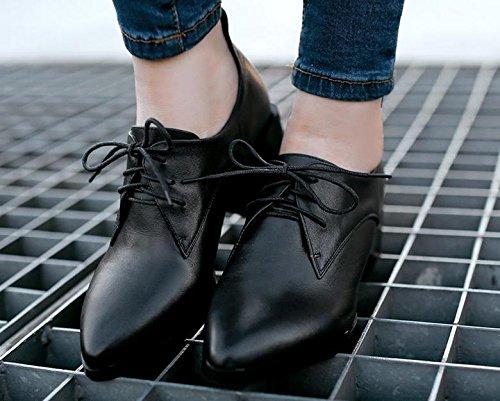 scarpe strato donna di primo nel pizzo da New scarpe con pelle punta Black in Spring wqn1x0PqY