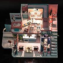 Ecisi Casa de muñecas de Madera Miniaturas Kit de Bricolaje, Cabaña de Madera Casa de