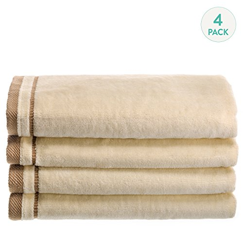 creative-scents-cotton-velour-fingertip-towel-4-piece-set-11-by-18-inch-cream-with-embroidered-brown