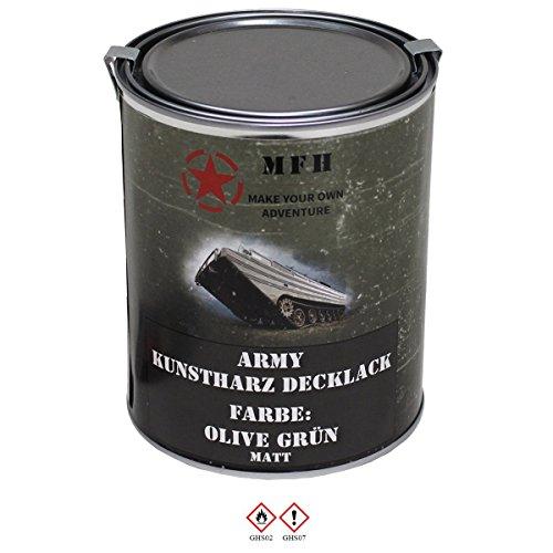 1 Liter Kunstharzlack Decklack Militärlack Militärfarbe Armee Nato Lack viele Farben (Oliv Grün, Matt) (Die Halloween-baum Online)