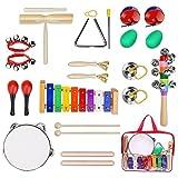 12PCS KIDS Musikinstrumente Holz Rhythm Band Set mit Tragetasche, Kleinkinder Percussion Toys, Percussion Set Spielzeug Drum Toy Piano
