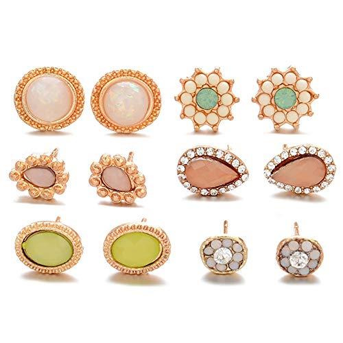 Assorted Mehrere Stud Ohrring 6 Style Sets Hypoallergen Edelstein Ohrstecker für Frauen Mädchen