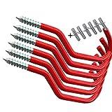 AIYoo Bike Haken Heavy Duty Fahrradhaken Aufbewahrung Haken Set, schraubbaren Utility ist Kleiderbügel Schuppen Garage Garten Haken mit für Wandhalterung/Deckenleuchte rot 6 Stück