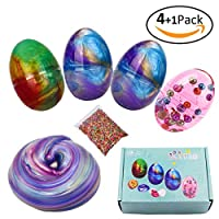 BESTZY Slime Fluffy Slime Putty - 3 Galaxy Egg Slime and 1 Random Color Pearl Egg Slime Bonus 1 Pack of Fruit slices, Soft and Non-Sticky, Perfect for Boys and Girls