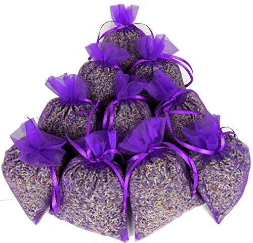 teevendo 10x Duftsäckchen Lavendelsäckchen gefüllt mit je 20g französischen Lavendelblüten im Organzasäckchen - für den Kleiderschrank etc.