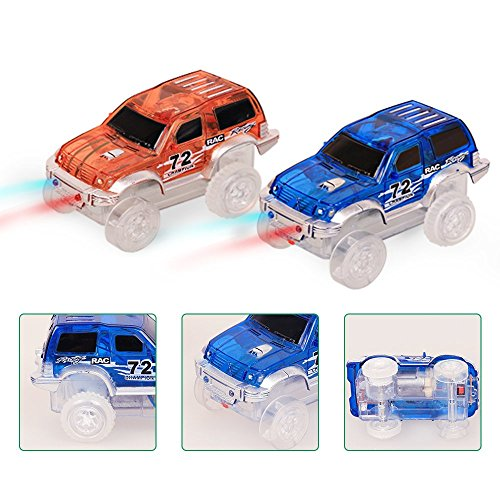 Twist 3 Licht (2 Race Auto, LED Rennauto Magic Twister Glow Tracks Race Car Auto Rennbahnen Spielzeug)