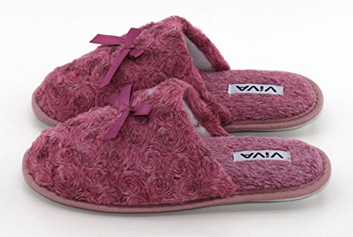 Damen Hausschuh Pantoffeln Schlappen - flauschig mit schöner Schleife und rutschfester Sohle - Anthrazit, Braun und Beere - von Brandsseller Beere