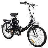 Elektro Klapprad, CRAVOG Aluminiumrahmen E-Bike Mittelmotor mit Rücktritt Inkl 12Ah/24V Akku und Ladegerät, Farbwahl 20 Zoll / 51cm (Schwarz)