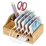 NexGadget Supporto di Bambù Organizzatore di Dispositivi per Hub USB e Stazione di Ricarica di Anker, RAVPower, Poweradd, etc.