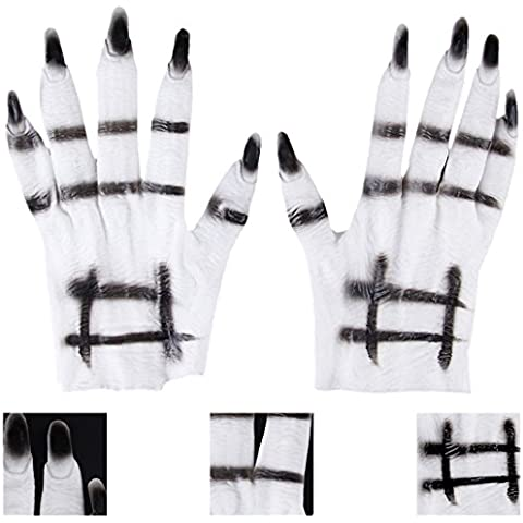 Moon mood® Halloween decoration - un Paio di Guanti di Halloween Horror Guanti Decorazioni Terrore Paura Casa Infestata Giocattolo Pulizie Bar Open Party Aria Esterna A Pair of Gloves Halloween Horror Gloves Decoration Terror Fear Haunted House Toy Housekeeping Bar Open Air Outdoor Party