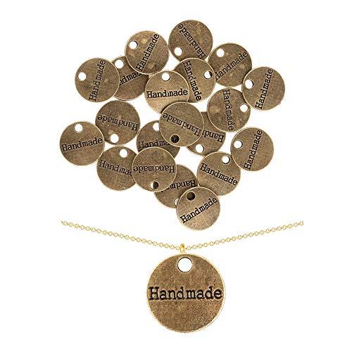 20 Stück tibetische Bronze-Platten handgefertigte Charms Anhänger für Schmuckherstellung DIY Handarbeit Handarbeit 14 mm