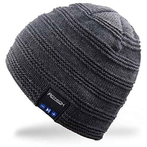 Rotibox Winter-waschbar Bluetooth Musik-Beanie Weiche warme modische kurze Hut-Kappe mit drahtlosem Kopfhörer-Kopfhörer-Kopfhörer-Mikrofon-Händen geben für im Freiensport-aufblasenden Gymnastik-Eignung-laufenden Skifahren - Grau