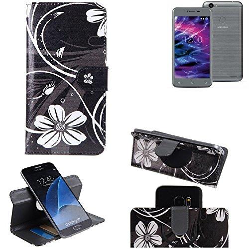 K-S-Trade Schutzhülle Medion E5008 Hülle 360° Wallet Case Schutz Hülle ''Flowers'' Smartphone Flip Cover Flipstyle Tasche Handyhülle schwarz-weiß 1x
