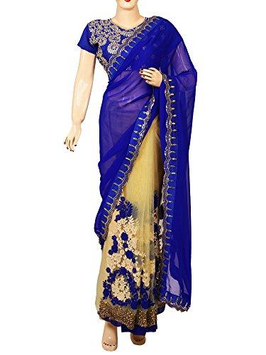 Mira Fashion Women\'s Georgette & Net Saree With Blouse Piece (Navy Blue)