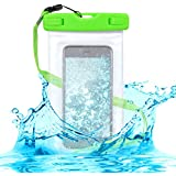 kwmobile Bolsa de playa impermeable para Smartphones - Funda protectora para la playa en verde