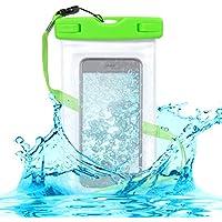 kwmobile Sacoche étanche pour la plage beachbag pour Smartphones - Housse de protection outdoor pour la plage en vert transparent