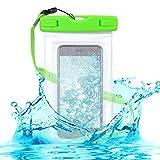 kwmobile Wasserdichte Smartphone Outdoor Beachbag Strandtasche - Handy Beach Bag Strand Schutzhülle in Grün Transparent - Schutz vor Wasser Sand Staub - Outdoor-Hülle Handybeutel Tasche