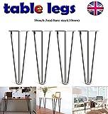 4 robuste Haarnadel-Tischbeine aus Metall/Eisen/Stahl mit drei Stangen zum Selbermachen von Möbeln, Tischbeinen perfekt für Couchtisch, Esstisch, Designerschreibtisch, Nachttisch, 40,6 cm, Stahl