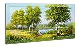 YS-Art Die Bilder | 110x60 cm | mit Einem handgemalten Rahmen Warten Darauf im Wohnzimmer, Schlafzimmer, Kinderzimmer, Büro Oder in der Küche aufgehängt zu Werden (DR003)