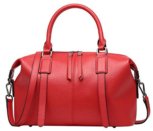 Xinmaoyuan Damen Lederhandtaschen Cowboy Boston Paket Schulter Kuriertasche Rot