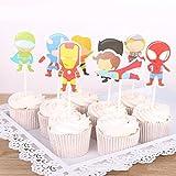 Astra Gourmet Lot de 24 décorations pour cupcakes Kartoon Avengers Super-héros pour...