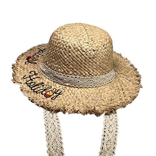 Junjie Elternteil-Kind das zerquetschten Strand Stickerei Zitat Floppy-Rand Großer Hut Strohhut bestickter Verstellbarer Strand-Sonnenhut schwarz ()