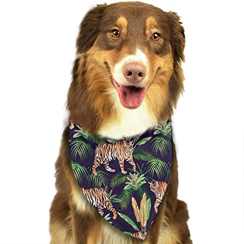Wfispiy Tiger in The Jungle Pet Dog Bandanas Triangle Bibs Scarf Accessories for Medium to Large Size