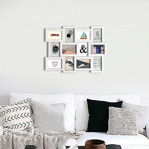 comprare on line SONGMICS Cornice Foto 10x15 cm Multifoto da Parete con 12 Posti di Foto e un Portafoto Singolo da Tavolo Bianco RPF112W prezzo
