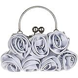 Heyjewels Mode Femme Pochette sac a main de soiree en satin fleur rose pour mariage multicolore 27 x 5 x 13 cm