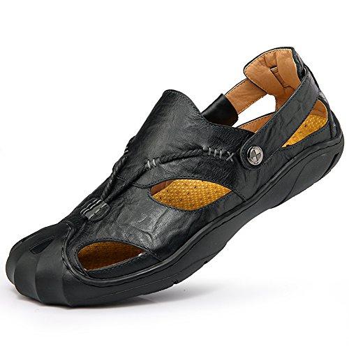 Gomnear Pour des hommes Des sandales Cuir Fermé Teo Glisser sur Été Sandale Pantoufle Chaussures Mode Plage Décontractée En marchant Noir