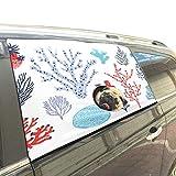 Reopx Sea Creature Corals Algen Faltbarer Hund Sicherheit Auto Gedruckt Fenster Zaun Vorhang Barrieren Protector Für Baby Kind Einstellbare Flexible Sonnenschutzabdeckung Universal Fit Für SUV