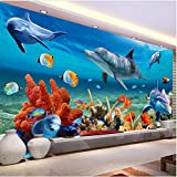 XCMB Benutzerdefinierte 3d mural tapete für kinder unterwasser delphin fisch tapeten aquarium wand hintergrund zimmer dekor kinder bettwäsche zimmer-450cmx300cm