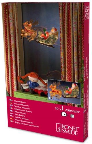 """Konstsmide 2853-000 Fensterbild """"Rentier mit Weihnachtsmann und Schlitten"""" / für Innen (IP20) /  230V Innen / 20 klare Birnen / weißes Kabel"""