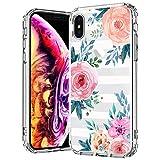 MOSNOVO iPhone XS Hülle/iPhone X Hülle, Streifen Blumen Muster TPU Bumper mit Hart Plastik Hülle Durchsichtig Schutzhülle Transparent für iPhone X/iPhone XS (Stripes Floral)