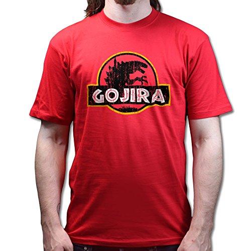 Gojira God Zilla Jurassic Dynosaur T-shirt Rot