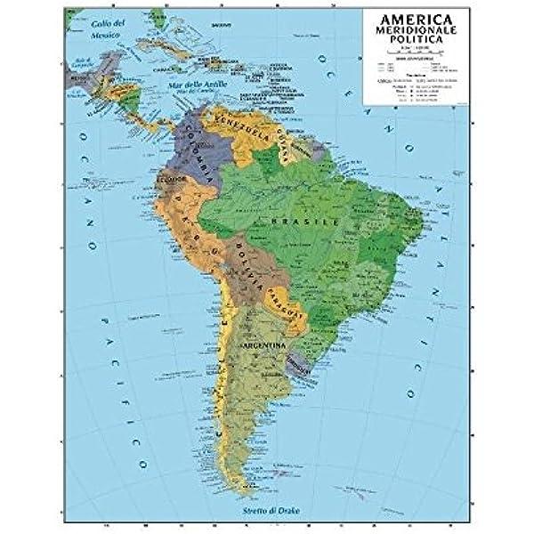 Cartina Fisica America Meridionale.Carta Geografica Murale America Del Sud 100x140 Bifacciale Fisica E Politica Amazon It Cancelleria E Prodotti Per Ufficio