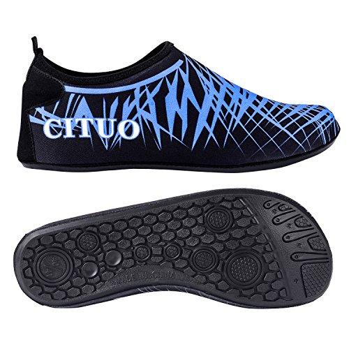 UPhitnis Quick-Dry Scarpe da immersione uomini donne bambini Aqua calze scarpe, peso leggero scarpe di pelle, Scalzi Unisex scarpe da acqua per Beach Surf Yoga nuotare Snorkeling Walking Lago Blue