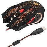 Gazechimp Ratón de juego 3200dpi Motor óptico de gama alta con Cable Portàtil Accesorios para PC Negro