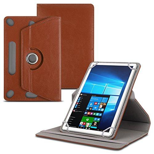 Schutzhülle kompatibel für Odys Titan 10 Tablet Tasche Kunstleder Standfunktion Hülle Schutztasche Universal 10.1 Zoll, Farben:Braun