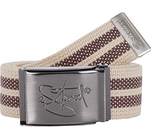 2Stoned Gürtel Canvas Belt Beige-Braun, matte Schnalle Classic, 4 cm breit, Stoffgürtel für Damen und Herren