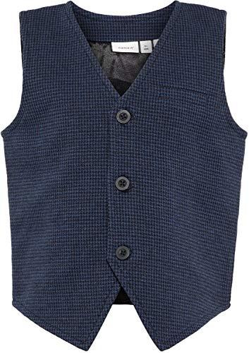 NAME IT Jungen Anzug-Weste NMMSAFISK kariert Kinder Festmode, Größe:104, Farbe:Dark Sapphire