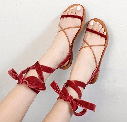 NARUX Damen Open Toe Sandalen 2017 Neue europäische und amerikanische Wind Cross Strap Fashion Zauber Color Bow Low Heel Schuhe wine rote