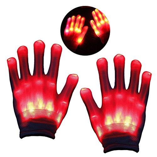Ihre Sie Erstellen Kostüm Eigenen - KITY Geschenke für Jungen 4-11 Jahre,LED Leucht Handschuhe Geburtstagsgeschenk für Mädchen 3-12 Jahre Jungen, Blink Party Leuchthandschuhe für Karneval oder Mottoparties(Rot)