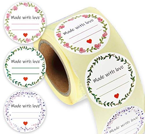 Etiketten selbstklebend I 250 runde Sticker auf Rolle I selbstgemacht I für Eingemachtes, Selbstgemachtes, Marmelade, Geschenke & Liköretiketten
