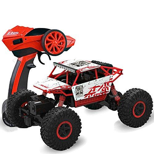 2.4GHz 1/18 Scale Voiture RC Buggy 4WD Tout Terrain Voiture télécommandée Rock Crawler Monstertruck Rouge