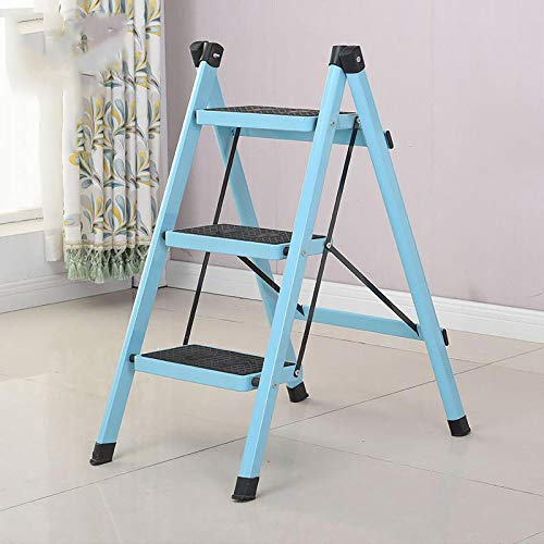 CLLCR Ladder-Home-Klapphocker, Dreistufig Verdicktes Eisenpedal, Innenleiter, Dreistufenleiter, Rutschfeste Leiter,Blau,68Cm verwenden
