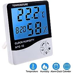 Termómetro Higrómetro LCD Digital Con Alarma, Zexuan Temperatura Interior, Humedad Monitor Medidor, Pantalla LCD Con Retroiluminacion Multifuncional Con Higrómetro, Medición en Casa, en Oficina