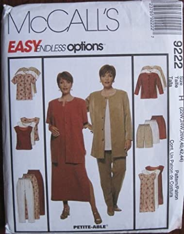 MCCALLS PATTERN 9222 WOMEN'S UNLINED JACKET, DRESS, TOP, PANTS AND