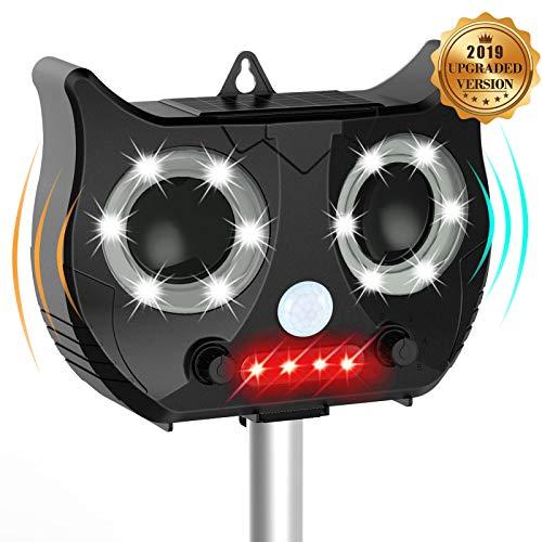 Katzenschreck Ultraschall Wasserdichte Utraschall Abwehr Solar Hunde Und 5 Modus Einstellbar Katzenschreck Ultraschall LED,Black
