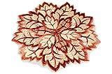 Tischdecken HERBST klassisch Klassische TISCHDECKE Rund 20 cm Vanille Creme Blatt Blätter Terracotta Weinrot Gestickt Dekoration Herbst Blätterdeckchen (Deckchen 20 cm Rund)